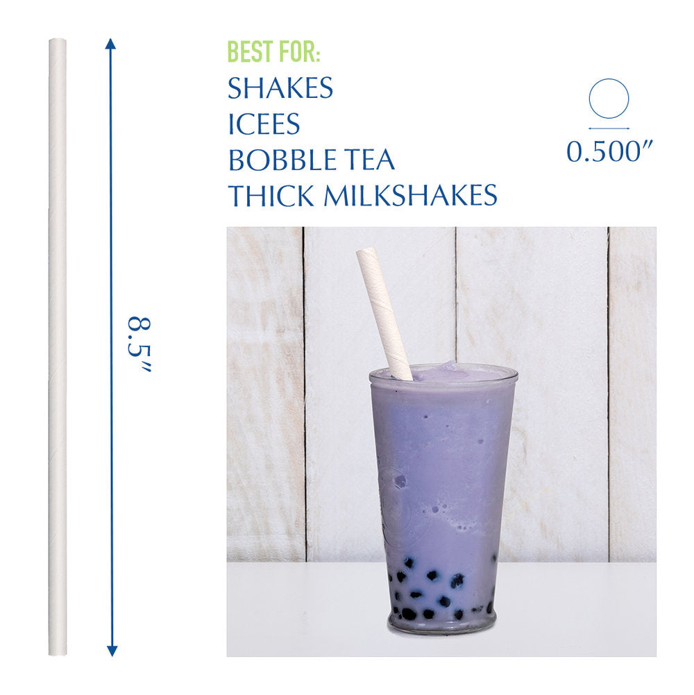"8.5"" White Bubble Tea Paper Straws - 1080 ct."