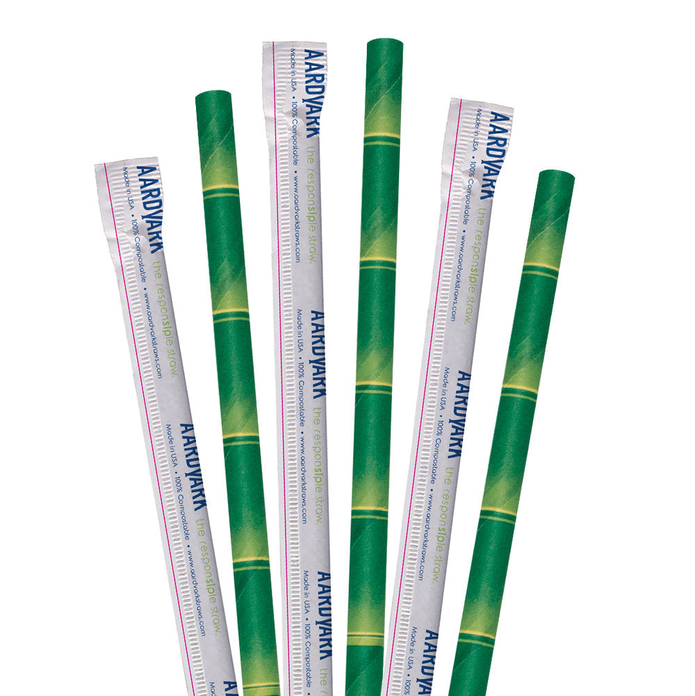 "7.75"" Wrapped Bamboo Jumbo Paper Straws - 3200 ct."