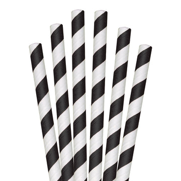 "8.5"" Black Striped Colossal Paper Straws - 1480 ct."