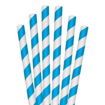 "8.5"" Blue Striped Colossal Paper Straws - 1480 ct."
