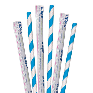 "7.75"" Wrapped Blue Striped Jumbo Paper Straws - 3200 ct."