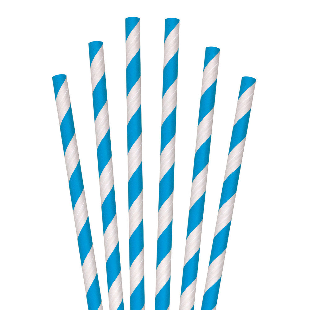 "7.75"" Blue Striped Jumbo Paper Straws - 4800 ct."