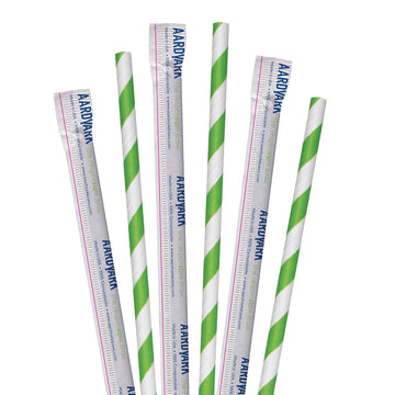 "7.75"" Wrapped Green Striped Jumbo Paper Straws - 3200 ct."