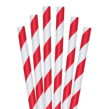 "8.5"" Red Striped Colossal Paper Straws - 1480 ct."