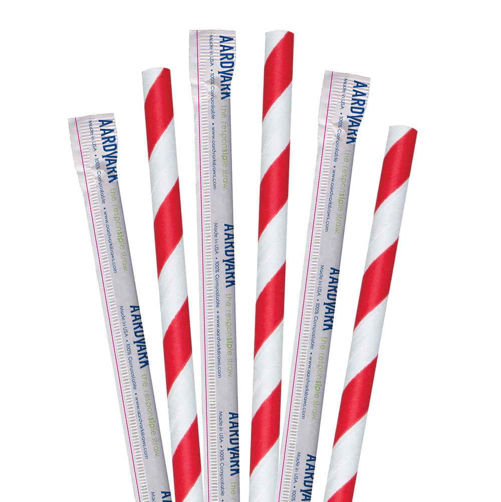 "10"" Wrapped Red Striped Giant Paper Straws - 2400 ct."