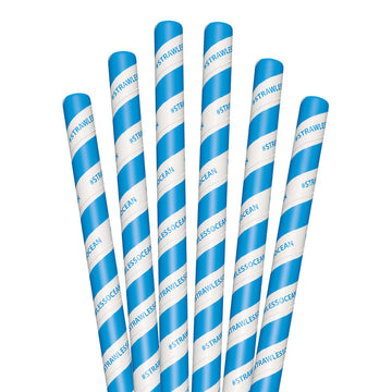 "8.5"" StrawLESS OCEAN Colossal Paper Straws - 1480 ct."