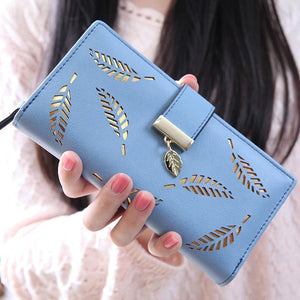 Leaf Pattern Geometric Leather Wallet (5 Colors)