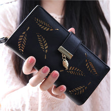 Load image into Gallery viewer, Leaf Pattern Geometric Leather Wallet (5 Colors)