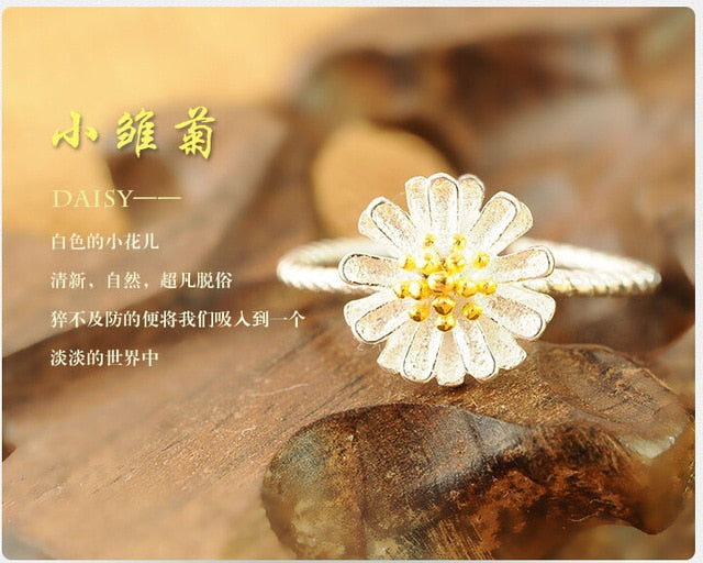 Daisy Flower Adjustable Ring