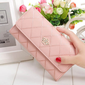 Plaid Leather Long Clutch Wallet (8 Colors)