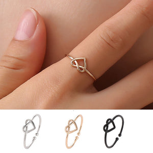 Twisted Knot Heart Rings