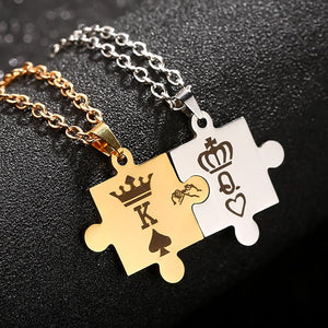 Stainless Steel King & Queen Puzzle Piece Necklace