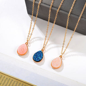 Stone Crystal Pendant Necklaces (3 Colors)