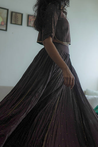 Mauve Gathered Lehenga