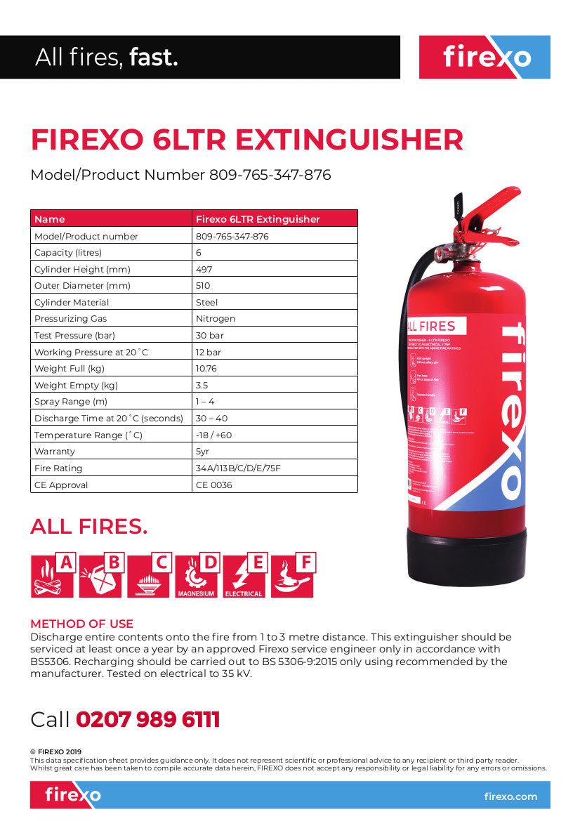6 Liter Firexo Extinguisher Specification