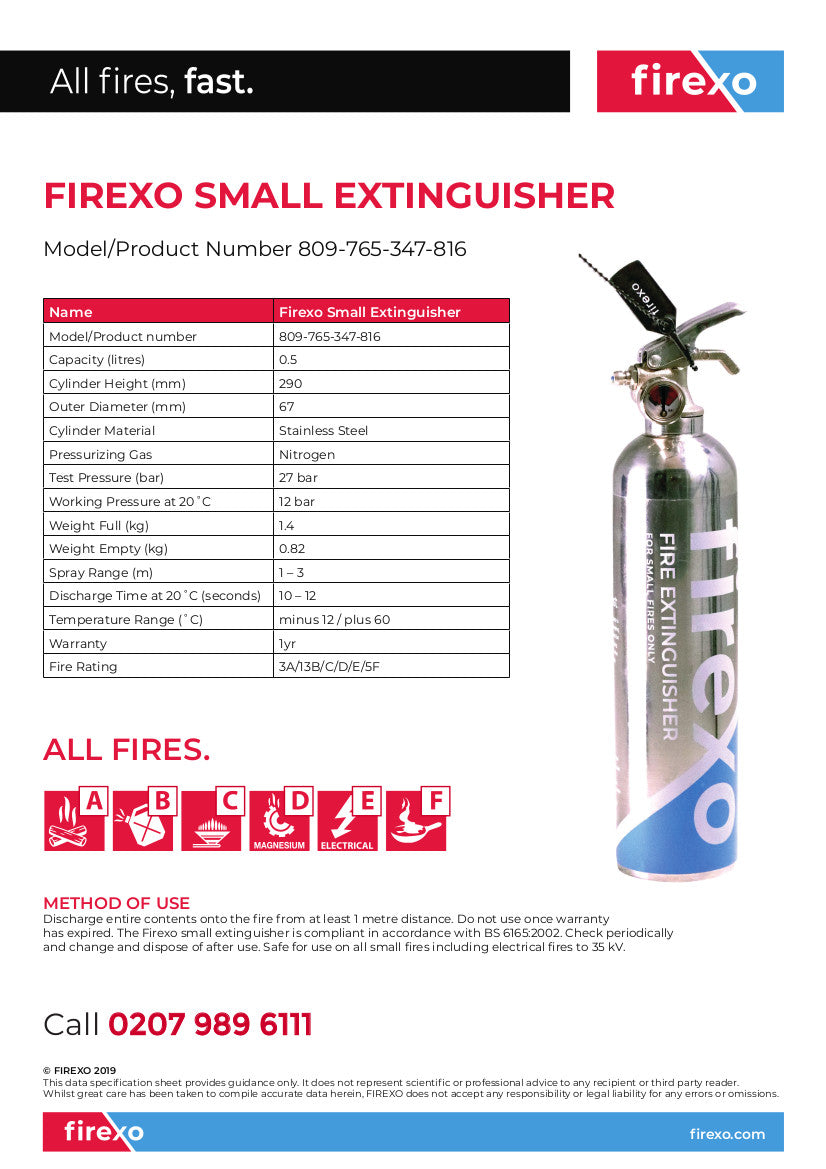small 500 ml extinguisher specification