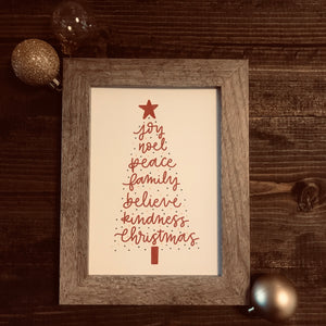 Christmas tree with words - print