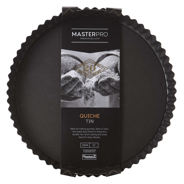 MasterPro Non Stick Fluted Loose Base Round Quiche 25cm