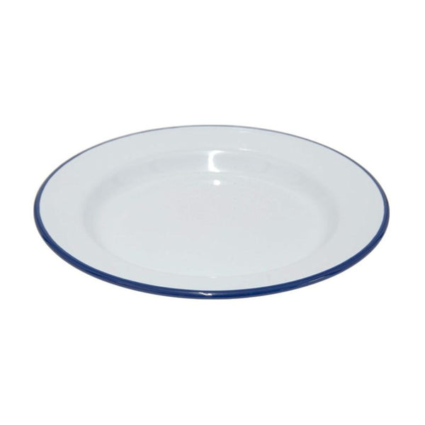 Falcon Enamel Dinner Plate 26cm White/Blue