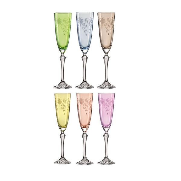 Bohemia Crystal Floral Flutes 200ml- set of 6 Assorted Colours