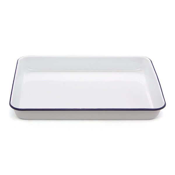 Falcon White & Blue Enamel Rectangle Baking Tray 41x32cm