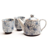 Japanese Teapot with Cups - White Kusa