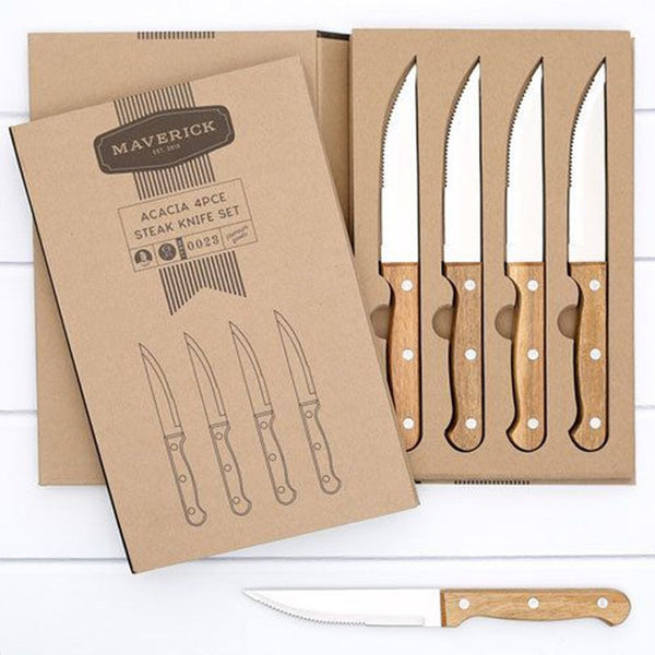 Maverick Acacia 4pce Steak Knife Set