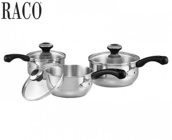Raco Basix Stainless Steel 3 Piece Saucepan Set