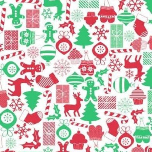 Just Home Christmas PEVA Flannelback Christmas Tablecloth Round 178cm