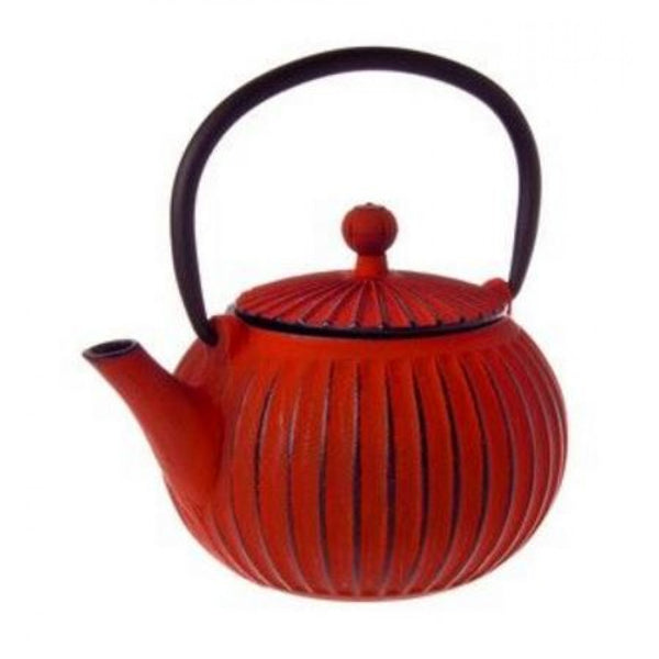Avanti Teapot Cast Iron Ribbed Red 500ml
