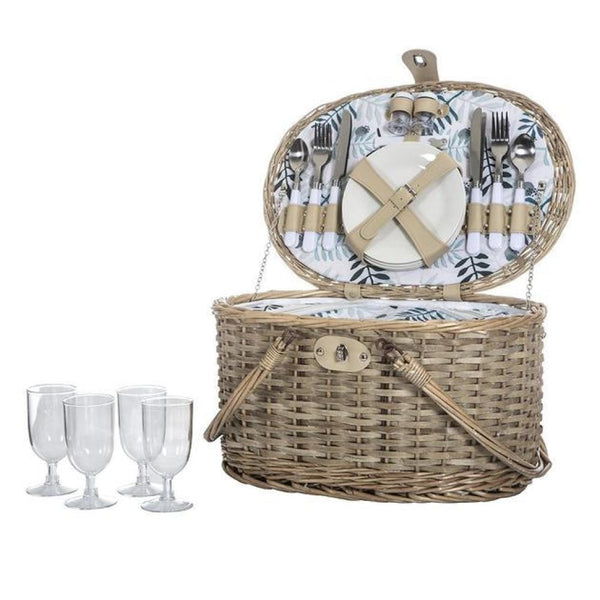 Aanuka Picnic Basket with Cooler for 4 Persons
