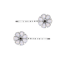 Load image into Gallery viewer, Pale Green Gem Flowery Hairpin Pack Of 2