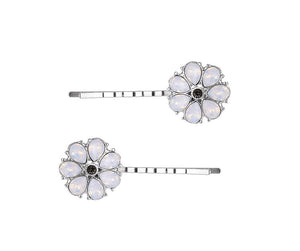 Pale Green Gem Flowery Hairpin Pack Of 2