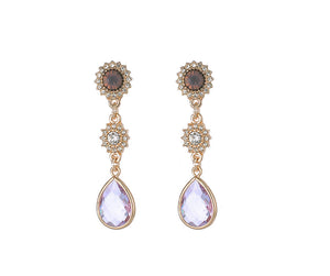 Gold Long Earrings With Lilac Gem