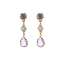 Load image into Gallery viewer, Gold Long Earrings With Lilac Gem