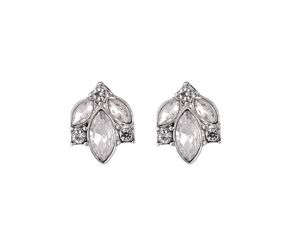 Gold/Silver Stud Earrings With Crystal Detail