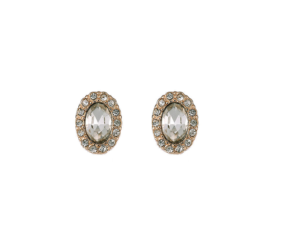 Oval Gold Stud Earrings With Crystals