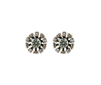 Gold Sparkly Stud Earrings With Diamonte Centre