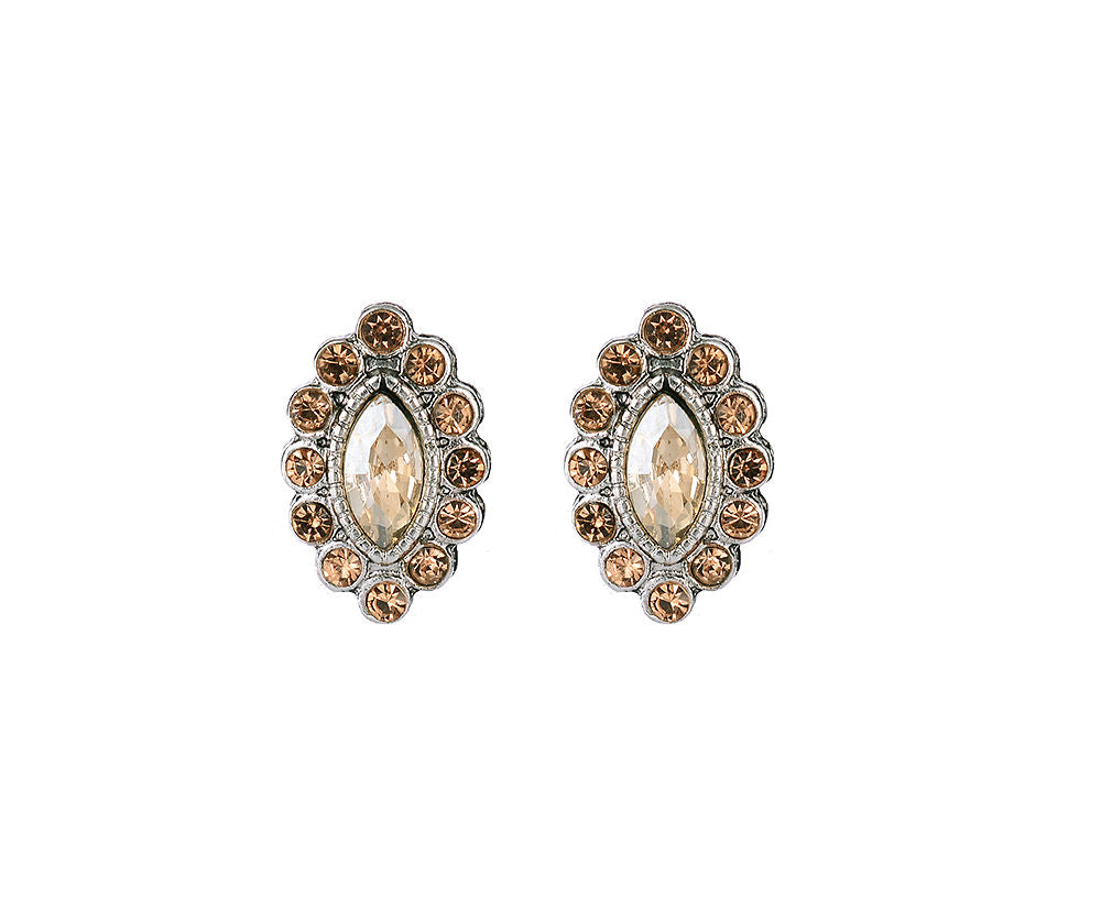 Oval Gold Stud Earrings With Crystals And Gem Centre