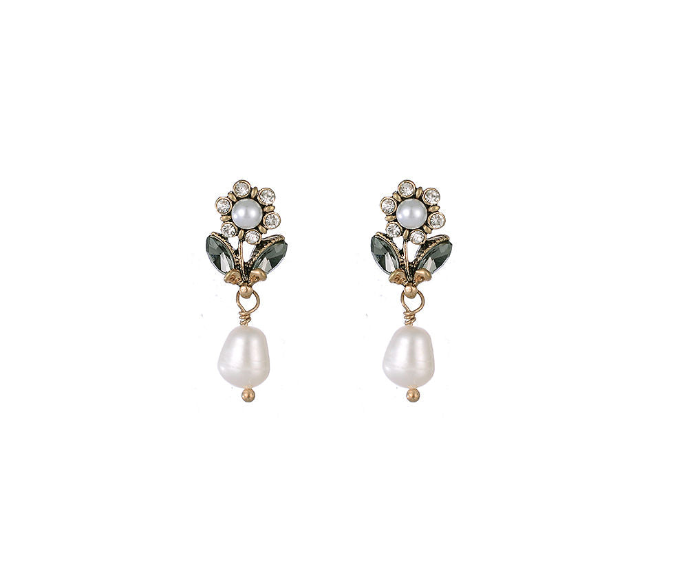 Long Gold Stud Earrings With Pearl And Crystal Detail