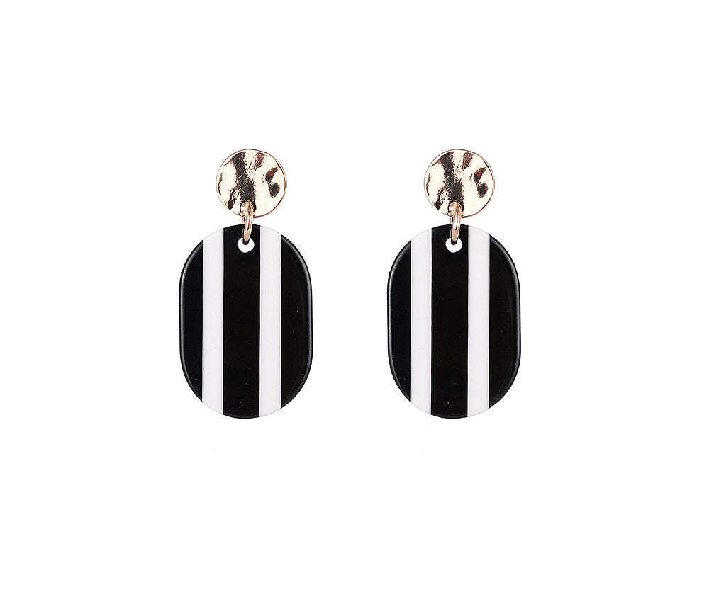 Black and white vertical stripe flat disc drop earrings