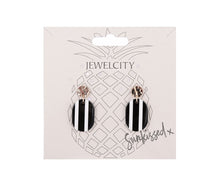 Load image into Gallery viewer, Black and white vertical stripe flat disc drop earrings