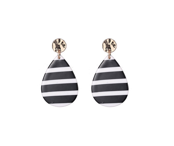 Black and white horizontal stripe tear drop shaped earrings