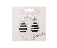 Load image into Gallery viewer, Black and white horizontal stripe tear drop shaped earrings