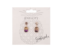 Load image into Gallery viewer, Lilac and yellow rectangular gem tear drop earrings