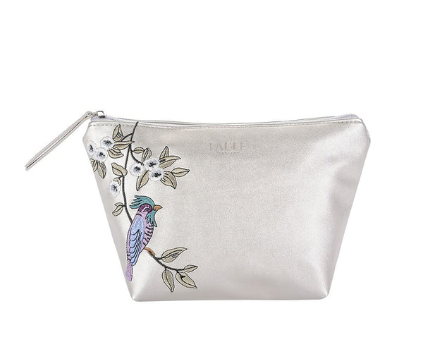 Metallic silver bird embroidered large makeup bag