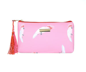 Pink parrot small flat makeup bag /
