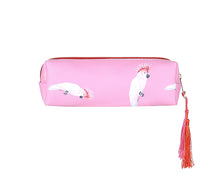Load image into Gallery viewer, Pink parrot small flat makeup bag /