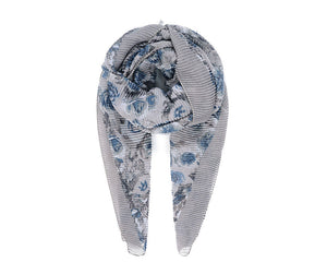 Grey rose print pleated scarf