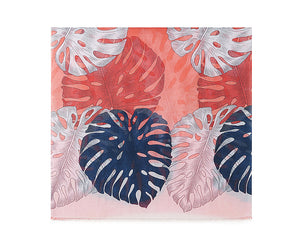Red bright bananas leaf print